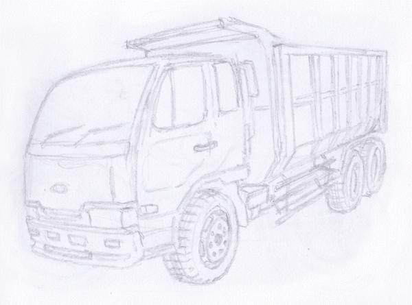 Gambar Sketsa Alat Transportasi Mobil Truk