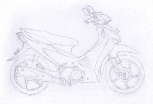 Gambar Sketsa Alat Transportasi Sepeda Motor