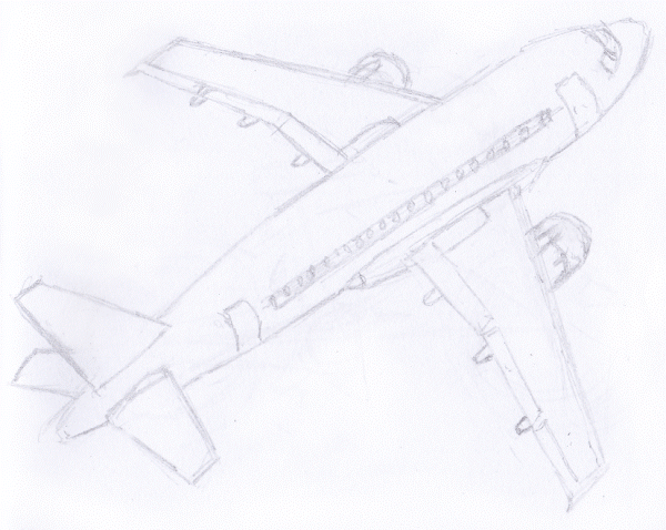 Gambar Sketsa Alat Transportasi Pesawat Terbang